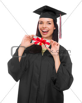 Female Graduate Holding Stack of Gift Wrapped Hundred Dollar Bil