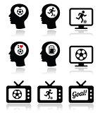 Man loving football or soccer icons set