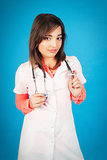 Young student of medicine with stethoscope