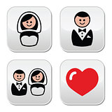 Groom and bride on round white buttons