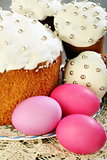 Easter cakes and eggs closeup.