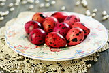 Easter eggs on a beautiful plate.