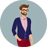 Hipster guy wearing red fashion jeans and checkered shirt, close-up vector illustration.