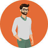 Hipster guy wearing green fashion jeans and cardigan, close-up vector illustration.