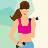 beautiful woman exercising with two dumbbell weights