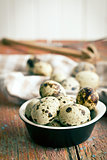 Quail eggs on old wooden table