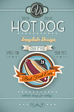 Vintage HOT DOG poster template for bistro