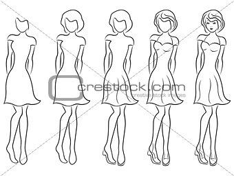 Beautiful women contour in drawing sequence