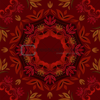 Abstract dark red floral repeating background