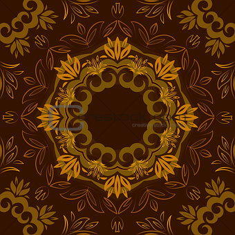 Abstract brown floral repeating background