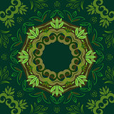 Abstract green floral repeating background