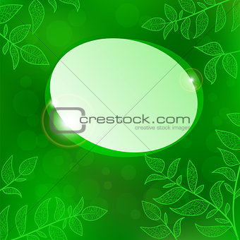 Abstract speech bubble on green nature background