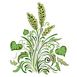 Floral swirl colored decorative pattern with leaves
