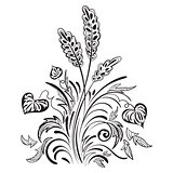 Floral swirl decorative pattern with leave