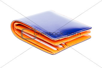 blue and orange  leather wallet