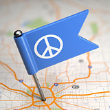 Peace Sign - Small Flag on a Map Background.