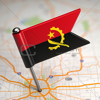 Angola Small Flag on a Map Background.