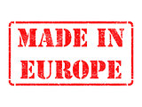 Made in Europe - inscription on Red Rubber Stamp.