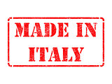 Made in Italy - inscription on Red Rubber Stamp.
