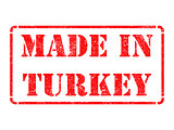 Made in Turkey - inscription on Red Rubber Stamp.