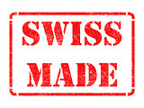 Made in Swizerland - inscription on Red Rubber Stamp.