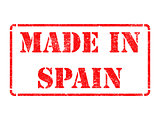 Made in Spain - inscription on Red Rubber Stamp.