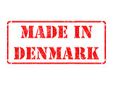 Made in Denmark - inscription on Red Rubber Stamp.