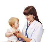 Pediatrician  doctor with patient