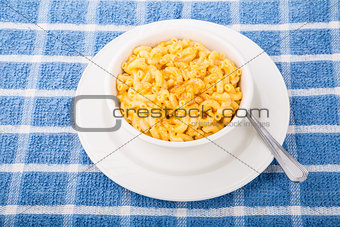 Bowl of Macaroni and Cheese with Red Pepper