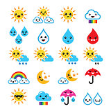 Cute sun, rainbow, moon, rain and cloud - Kawaii, Manga icons