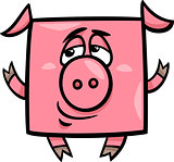 square pig cartoon illustration