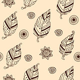 Seamless pattern with feathers
