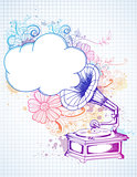 Gramophone on abstract floral background