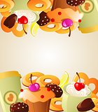 Background with sweet cakes