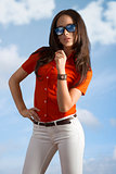 girl with casual clothes and sunglasses