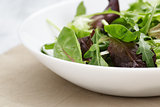 mesclun mix salad in white bowl