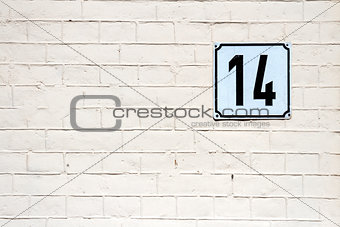 Number 14 on a wall