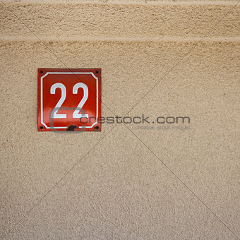 Number 22 on a wall