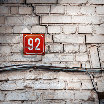 Number 92 on a wall
