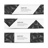 Abstract grey pyramid horizontal banners