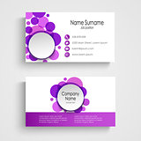 Modern violet round business card template