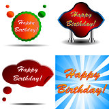 Happy Birthday logo set