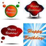 Happy Birthday logo set