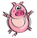Cartoon naif baby pig in a naif childish drawing style