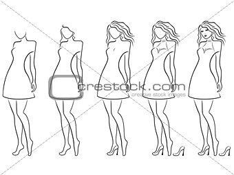 Alluring women contour in hand drawing sequence