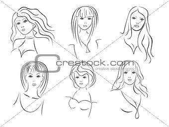 Six beautiful young women portraits