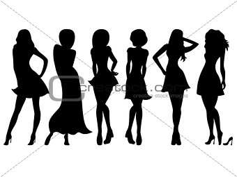 Six slim attractive women silhouettes