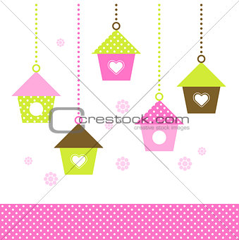 Spring colorful Birdhouses set isolated on white