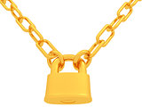 gold chains and padlock isolation on white background