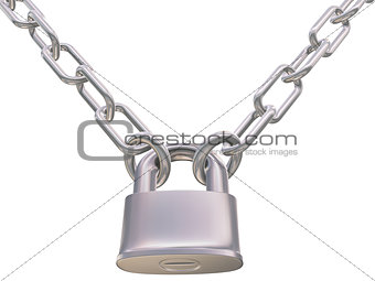 chains and padlock isolation on white background